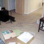 There's stuff all over the floor... see the box in the lower right? That's the stool I was putting together for my vanity!