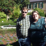 John & Rakel in front of a garden at the Owens-Thomas house in historic Savannah, GA