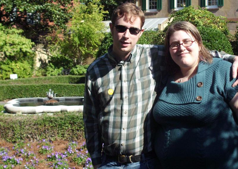 John & Rakel in front of a garden at the Owens-Thomas house in historic Savannah, GA